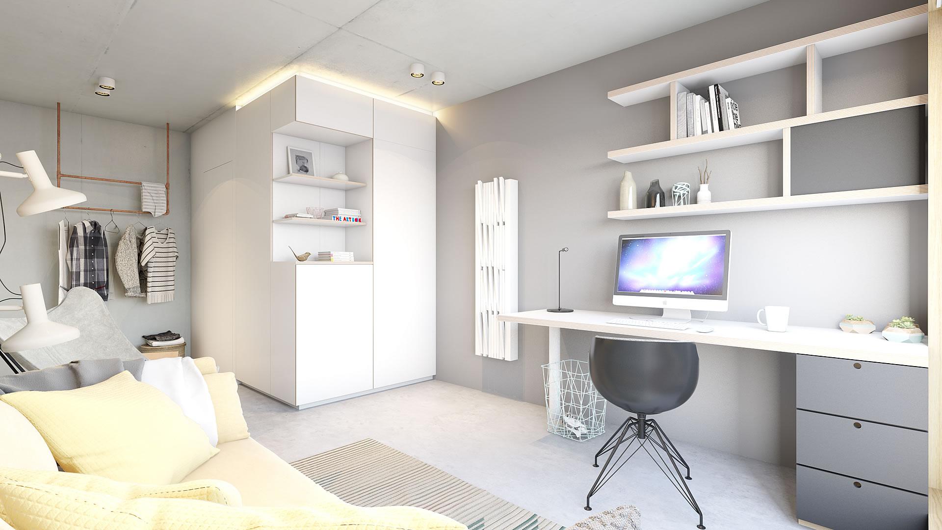 Studentenkamer met en-suite badkamer